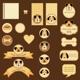 Märker och etiketter med hundkapplöpning royaltyfri illustrationer