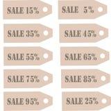 Märker samlingen Etikett för annonsering med gråa märka Sale 10%, 20%, 30%, 40%, 50%, 60%, 70%, 80%, 90% på Kraft papper Arkivbild