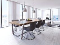 Märkes- äta middag tabell i denstil lägenheten med stora hängande lampor, ädelträtabletop, idérika stolar royaltyfri illustrationer