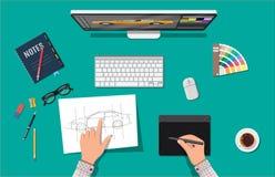 Märkes- arbetsplats Illustratörskrivbord med hjälpmedel stock illustrationer