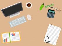 Märkes- arbetsplats Plan design illustration Arkivbilder