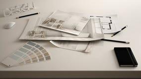 Märkes- begrepp för arkitekt, tabell som är nära upp med det inre renoveringutkastet, teckningar för ritning för badruminredesign royaltyfria bilder