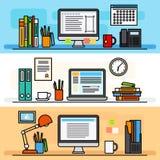 Märkes- begrepp för workspacelägenhetdesign royaltyfri illustrationer