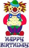 Märkes- beslut för ` s för ett födelsedagparti, clown med kakan royaltyfri illustrationer