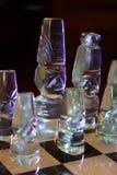 Märkes- glass schackstycken Royaltyfri Foto