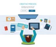 Märkes- kontorsworkspace med hjälpmedel och apparater stock illustrationer
