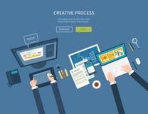 Märkes- kontorsworkspace med hjälpmedel och apparater Arkivfoton