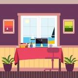 Märkes- workspace nära fönstret Arkivbild
