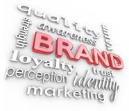 Märkesmarknadsföringen Words att brännmärka för medvetenhetlojalitet Arkivbild