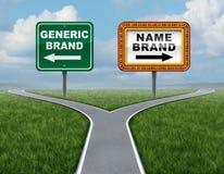 Märkesnamn för generiskt märke kontra royaltyfri illustrationer