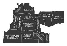 Märkt svart illustration för Memphis Tennessee stadsöversikt USA Arkivfoton