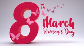 8. März übertragen internationaler Frauen ` s Tag 3d Illustration 3d Lizenzfreies Stockbild