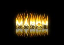 März auf Feuer Stockfoto