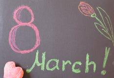 8. März auf schwarzem Hintergrund Stockbild
