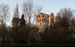 9. März 2019 Casale-sul Sile Region Nord-Italiens, Venetien: Der Carraresi-Turm stockfotografie