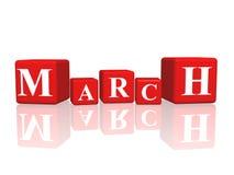 März in den Würfeln 3d stock abbildung