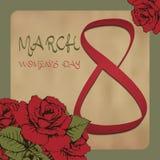 8. März der Tag der Frauen Grußkarte in der Weinleseart, Einladung, Fahne Rote Rosen blühen Hintergrund der gealterten Papierbesc Lizenzfreie Stockfotos
