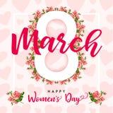 8. März der Tag der glücklichen Frauen, elegante Grußkarte der rosafarbenen Blume Stockfotos