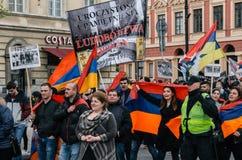 März des armenischen Gemeinschaftsjahrestages des armenischen Genozids Stockfotos
