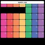 März 2018 des großen spezifische Wochentage Anmerkungsraumes des Planers Farb Lizenzfreies Stockbild