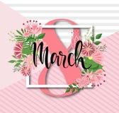 8. März Design mit Blumen Hintergrund der internationalen Frauen Tages Stockbild