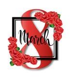 8. März Design mit Rosen Hintergrund der internationalen Frauen Tages Lizenzfreie Stockfotografie