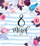 8. März Feierplakatschablone mit festlichem Wunsch, herrliche halb farbige rosafarbene Blumen, netter Vogel auf blauem Hintergrun Lizenzfreies Stockfoto
