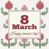 8. März Frauen ` s Tageskarte mit Tulpen, Nachahmung des Kreuzstichs Lizenzfreie Abbildung