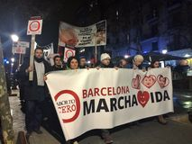 MÄRZ GEGEN ABBRUCH, BARCELONA, am 28. Dezember - Katholische marschieren gegen Abbrüche Stockfotografie