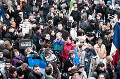 März gegen Charlie Hebdo-Zeitschriftterrorismusangriff, am 7. Januar 2015 in Paris Stockfotografie