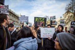 März gegen Trumpfpolitik Stockfoto