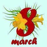 8. März Grußkarte der Frauen s Tages 8. März Designkarten mit Narzissenblumen vektor abbildung
