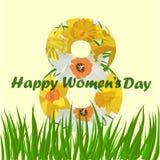 8. März Grußkarte der Frauen s Tages 8. März Designkarten mit Narzissenblumen stock abbildung