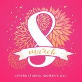 8. März internationale Frauen ` s Tagesdesign-Grußkarte mit handgeschriebener Beschriftung und Hand gezeichneter Blumenverzierung stockbilder