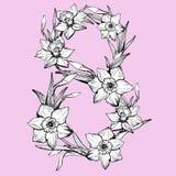8. März internationaler Frauen ` s Tag Grußkarte wifh Blumen Narzisse stockfoto