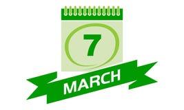 7. März Kalender mit Band Lizenzfreie Stockfotos