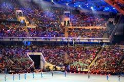 MÄRZ 2014: Olympiapark in Adlersky-Bezirk, Krasnodar Krai Lizenzfreie Stockfotos