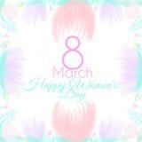 März-Postkarte mit Blumen Lizenzfreies Stockfoto