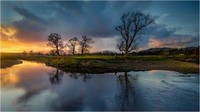 März-Sonnenuntergang in Drymen, Schottland lizenzfreie stockfotos