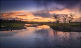 März-Sonnenuntergang in Drymen, Schottland stockfotos