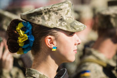 März von Unabhängigkeit in Kiew Stockfotos