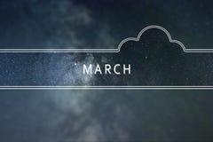 MÄRZ-Wortwolke Konzept Nächtlicher Himmel mit vielen Sternen Stockbild