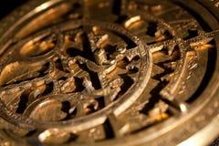 Mässingsastrolabium för skärmdetaljslut upp fotografering för bildbyråer