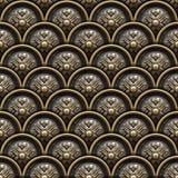 Mässingsbakgrund med klassikerprydnaden royaltyfri illustrationer