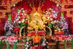 MässingsGanesha staty, tempel för PA Daet i Chiangmai Thailand Arkivfoton