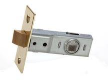 Mässingsinredörren låser för säkrande av den stängda dörren. Arkivfoton