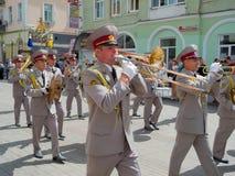 mässingsmilitärt utföra för band Royaltyfri Bild