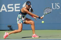 Mästare Ana Ivanovic för storslagen Slam av Serbien i handling under hennes första runda match på US Open 2016 Arkivfoton