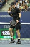 Mästare Andy Murray för storslagen Slam av Storbritannien i handling under match för runda fyra för US Open 2016 Royaltyfria Foton