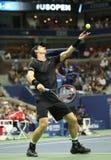 Mästare Andy Murray för storslagen Slam av Storbritannien i handling under match för runda fyra för US Open 2016 Royaltyfri Fotografi